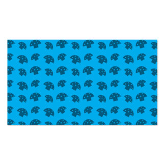 Cute sky blue mushroom pattern business card templates