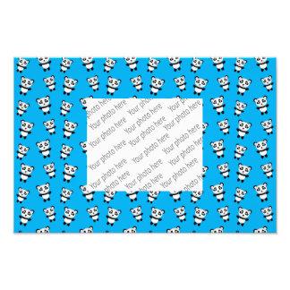 Cute sky blue panda pattern art photo