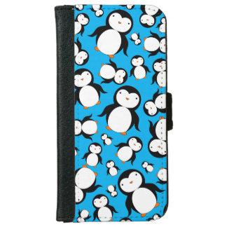 Cute sky blue penguin pattern iPhone 6/6s wallet case