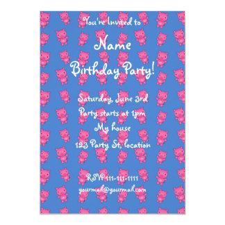 Cute sky blue pig pattern 5x7 paper invitation card