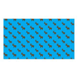 Cute sky blue reindeer pattern business card template
