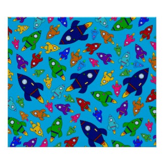 Cute sky blue rocket ships pattern poster