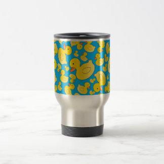 Cute sky blue rubber ducks 15 oz stainless steel travel mug
