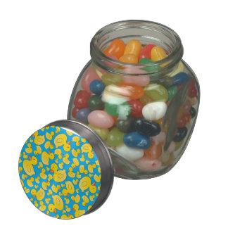 Cute sky blue rubber ducks glass candy jar