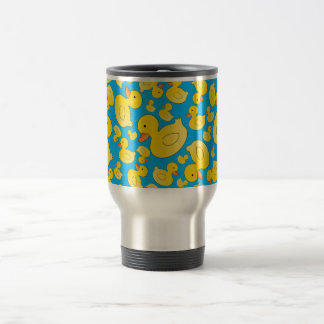 Cute sky blue rubber ducks travel mug