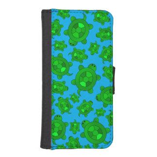 Cute sky blue turtle pattern iPhone 5 wallet case