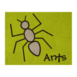 Cute Sky Blue Vector Ant (Grass Green Background) Cork Paper Prints