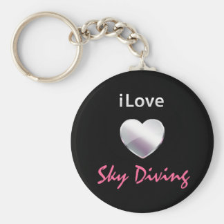 Cute Sky Diving Basic Round Button Keychain