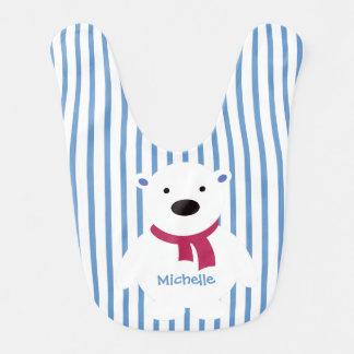 Cute Slate/White Polka Dots, Polar Bear, Add name Baby Bib
