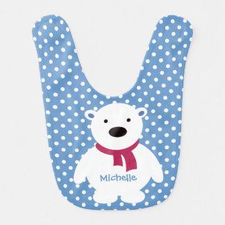Cute Slate/White Polka Dots, Polar Bear, Add name Bib