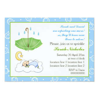 Cute sleeping baby boy sprinkle blue and green card