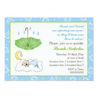 Cute sleeping baby boy sprinkle blue and green card