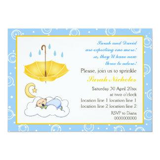 Cute sleeping baby boy sprinkle blue and yellow card