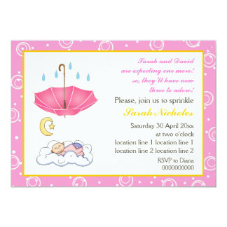 Cute sleeping baby girl sprinkle pink and yellow card