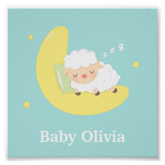 Cute Sleeping Baby Lamb Kids Nursery Room Decor