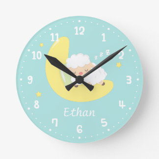 Cute Sleeping Baby Lamb Kids Nursery Room Decor Round Clock