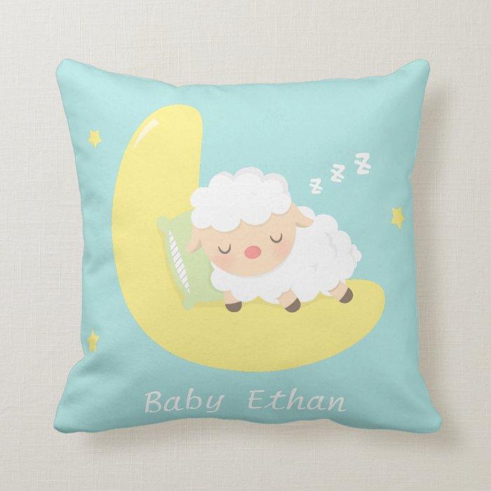 Decorative Throw Pillows Nursery : Cute Sleeping Baby Lamb Kids Nursery Room Decor Throw Pillow Zazzle