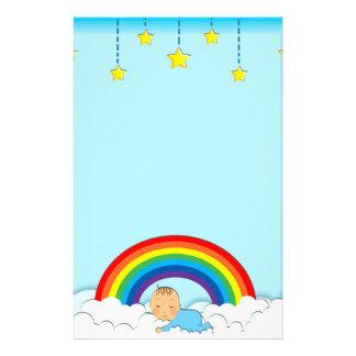 Cute sleeping Baby under rainbow Stationary Stationery