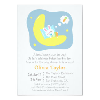 Cute Sleeping Bunny and Carrot Baby Shower 4.5x6.25 Paper Invitation Card