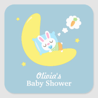 Cute Sleeping Bunny on Moon Baby Shower Square Sticker