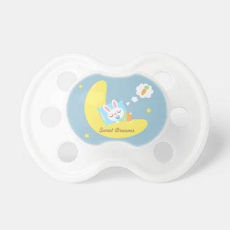 Cute Sleeping Bunny on Moon For Baby Boy Pacifier