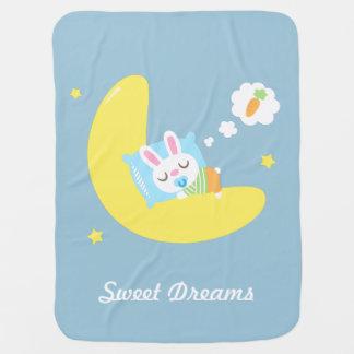 Cute Sleeping Bunny on Moon For Baby Boy Swaddle Blanket