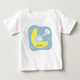 Cute Sleeping Bunny on Moon For Baby Boy T Shirt
