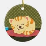 Cute sleeping cartoon kitty cat fun round ornament