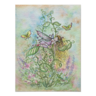 Cute Sleeping Fairy and Butterflies Fantasy Art Poster