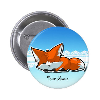 Cute Sleeping Fox Badge