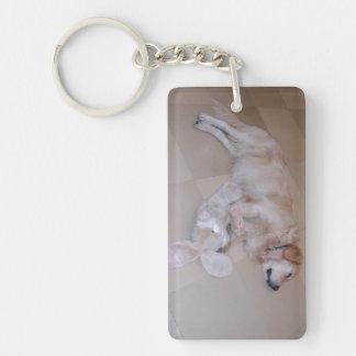 Cute Sleeping Golden Retriever  With Toy Rabbit Keychain
