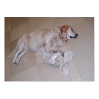 Cute Sleeping Golden Retriever  With Toy Rabbit Large Business Cards (Pack Of 100)