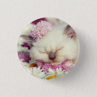 Cute Sleeping Kitten and Flower Photo Button