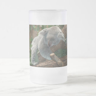 Cute Sleeping Koala Bear Frosted Glass Beer Mug