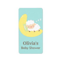 Cute Sleeping Lamb Baby Shower Party Labels