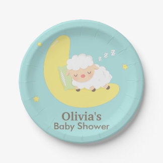 Cute Sleeping Lamb Baby Shower Party Supplies 7 Inch Paper Plate