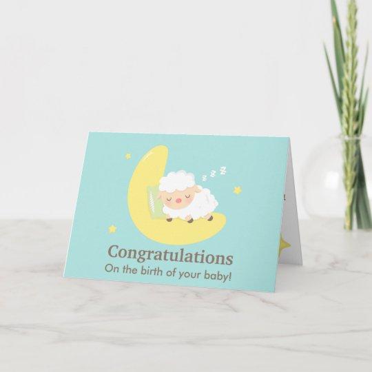 cute sleeping lamb congratulations baby newborn card zazzle com