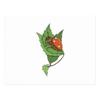 cute sleeping little ladybug postcard