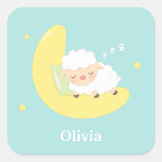 Cute Sleeping Little Lamb on the Moon Square Sticker