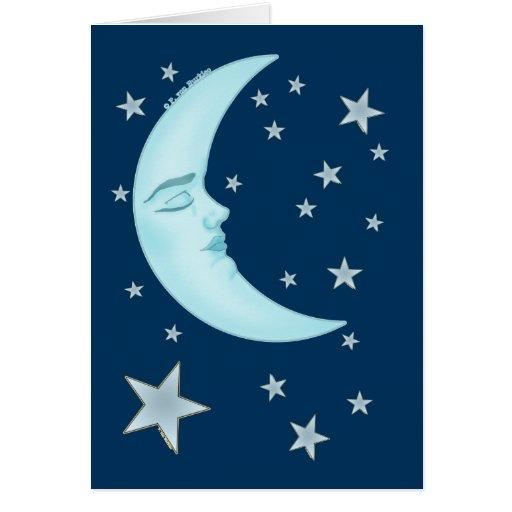 Cute Sleeping Moon Greeting Cards