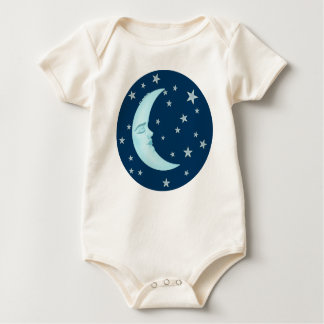 Cute Sleeping Moon Infant Organic Baby Bodysuit