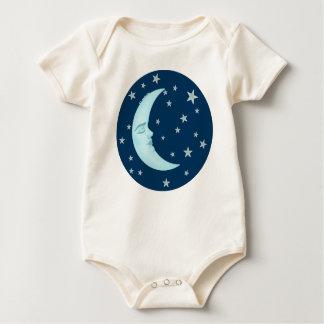Cute Sleeping Moon Infant Organic Rompers