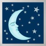 Cute Sleeping Moon Poster