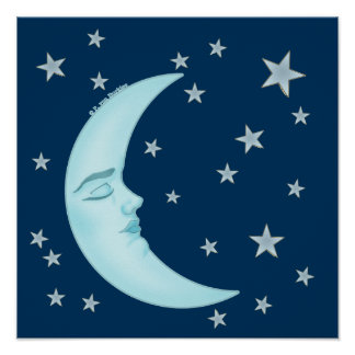 Cute Sleeping Moon Poster
