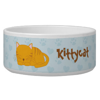 Cute Sleeping Orange Tabby Cat Bowl