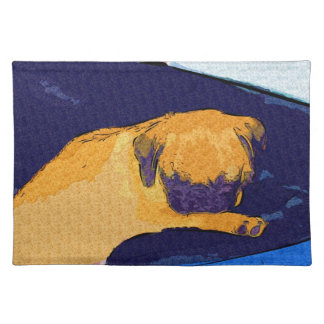 Cute Sleeping Pug Dog Placemats