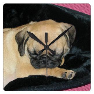Cute Sleeping Pug Puppy Square Wall Clock