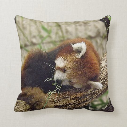 Cute Sleeping Red Panda w/ Food in Its Mouth Throw Pillow