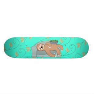 Cute Sleeping Sloth Being Lazy Tropical Jungle Skateboard