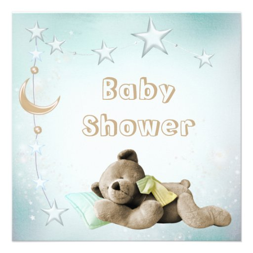 Cute Sleeping Teddy Moon & Stars Baby Shower Personalized Announcements